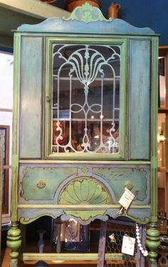 """Art Nouveau Goddess Cabinet-Bohemian Furniture, Boho Chic, Bohemian ...I hate to see this beautiful piece painted which is the norm or """"current trend"""" right now."""