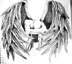 12 hours with mechanical pencil and an eraser. Fallen angel tattoo I'm considering on getting. Angel Tattoo Drawings, Angel Drawing, Angel Tattoo Designs, Tattoo Sketches, Tattoo Designs Men, Fallen Angel Tattoo, Guardian Angel Tattoo, Angel Tattoo Men, Male Fallen Angel