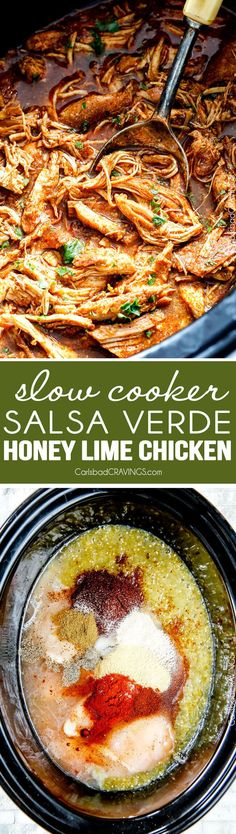"Slow Cooker Salsa Verde Honey Lime Chicken (and Tacos!) - the flavor of this chicken is out of this world! the best ""dump and run"" meal I have ever made! Love the sweet, tangy spicy Mexican chicken for tacos, burritos, tostadas, salads, etc. Couldn't be any easier!"
