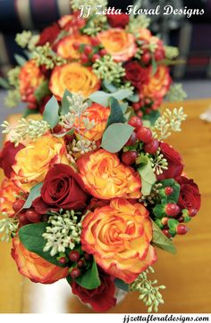 Wedding Fall Autumn Bride Bridesmaid Bouquets. Flowers arranged by JJ Zetta Floral Designs.