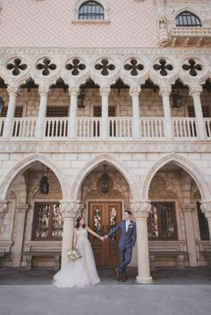 The ever romantic Italy Pavilion in Epcot lends itself well to wedding portraits. Photo: Brittany, Disney Fine Art Photography