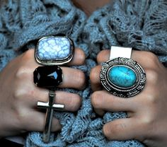All about the bling ring Chunky Rings, Chunky Jewelry, The Bling Ring, Ring My Bell, Lady Fingers, Big Rings, Unique Rings, Turquoise Jewelry, Jewelery