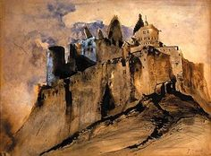 Victor Hugo: Ruins of Vianden Castle From Here To Eternity, Bram Stoker's Dracula, Ink Master, Dream City, Medieval Castle, Sculpture, Illustrations, Les Oeuvres, Cool Art