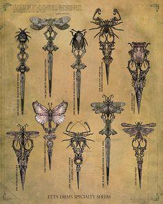 insects art-nouveau-art-grafico (bee on top) Motifs Art Nouveau, Bijoux Art Nouveau, Art Nouveau Design, Design Art, Tumblr Tattoo, Scissors Tattoo, Pretty Knives, Jugendstil Design, Bild Tattoos