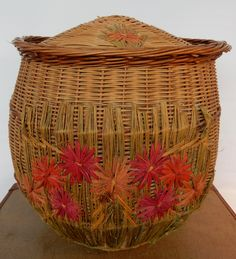 Vintage Laundry Basket , shabby chic, retro , boho, kitchenware, storage solution by Route46Vintage on Etsy