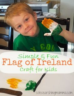 A simple and fun study of Ireland for kids that includes the nation's flag, a map and list of literary giants all in one collage.