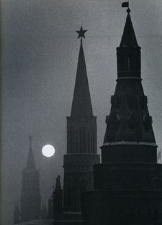 The Kremlin and Spassky Tower in Moscow, Under a Full Moon.  Photo by Carl Mydans. 1950s.