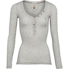 Tommy Hilfiger Lola Henley Top (€51) ❤ liked on Polyvore featuring tops, long sleeve shirts, grey, women, henley top, v neck shirts, button shirt and v neck long sleeve shirt