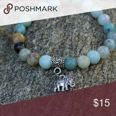 Amazonite Elephant bracelet Handmade genuine Amazonite elephant charn bracelet Jewelry