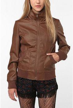 Sparkle & Fade Faux Leatherette Mock-Neck Bomber Jacket