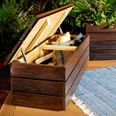 How to Build an Outdoor Storage Bench | Family Handyman Storage Bench Seating, Bench With Storage, Outside Storage Bench, Deck Storage, Outdoor Storage Benches, Garage Storage, Storage Ideas, Easy Storage, Backyard Storage