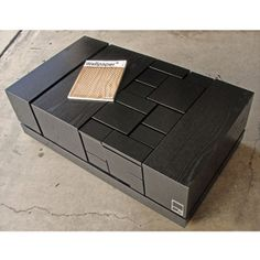 Black Lacquer Coffee Table with Geometric Design