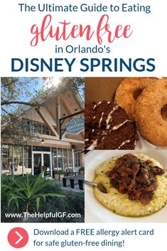 Pin now for the ultimate guide to gluten-free dining at Disney Springs (formally called Downtown Disney) in Orlando, Florida!  See the top picks for gluten-free food options, desserts, and snacks at Disney Springs restaurants like Splitsville, Planet Hollywood, Paddlefish, and more!  #disneysprings #glutenfreetravel #orlando #disneydiningplan