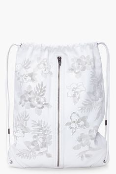 ALEXANDER WANG //  WHITE LEATHER GYM BACKPACK