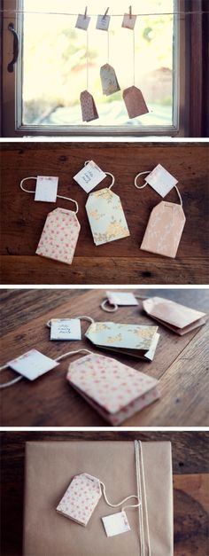 Tea Bag Gift Tag Printable and DIY tutorial. Larger version could also be used as a garland.