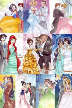Made collage with limited  edition collector doll drawings of all the disney princess and prince.