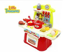Happy Kitchen popular gift for 3  kids mini cooking range set 23pc accessories such as stove burner, oven, wash basin, compartments and cabinets, cooking pots, cutlery with hooks, meat and vegetables -- Continue to the product at the image link.