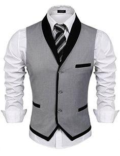 Men's Clothing, Suits & Sport Coats, Men's V-Neck Sleeveless Slim Fit Vest-Jacke. Men's Clothing, Suits & Sport Coats, Men's V-Neck Sleeveless Slim Fit Vest-Jacket Business Suit Dress Vest - Grey - Mens Suit Vest, Men's Waistcoat, Mens Suits, Grey Suits, Suit Men, Mens Sport Coat, Sport Coats, Wedding Vest, Frack
