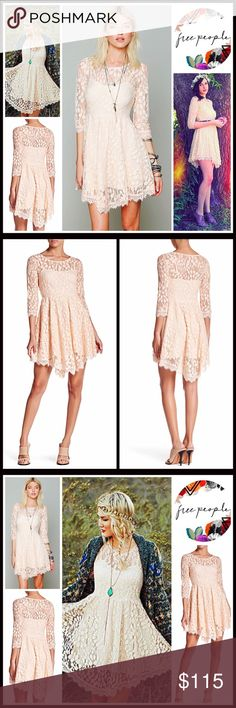 "FREE PEOPLE BOHO LACE SHORT DRESS FREE PEOPLE BOHO LACE SHORT DRESS 💟 NEW WITH TAGS 💟    * Allover beautiful Crochet eyelet floral embellished chiffon lace overlay * Long sleeves & a stretch-to-fit style; Concealed size zipper. * Subtly flared asymmetrical semi pleated skirt * Measures about 34""-38"" long ***Tagged size 12 (L) will approx fit sizes 12-14, due to the super stretchy style.  Fabric: Nylon, spandex Item Color: Pink Sand #FP96900 🚫No Trades🚫 ✅Offers Considered*/Bundle…"