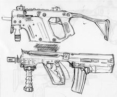 A quick ballpoint pen sketch in my sketchbook using a regular pen, I like the modern day rifles, look very futuristic.