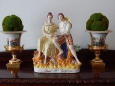 Rare Antique Staffordshire Large Pottery Figure of Paul & Virginia Figurine