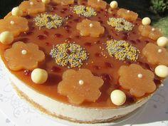 Tarta mousse de queso, miel y caramelo