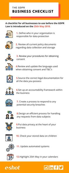 e-shot™ Infographic – The GDPR Business Checklist Source by EAGConsultancy Web Security, Computer Security, Mobile Security, Computer Tips, Mobile Marketing, Marketing Digital, Internet Marketing, Marketing Ideas, Email Marketing