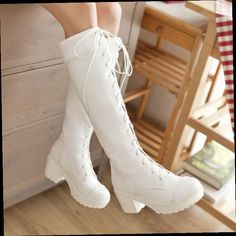 51.86$  Watch now - http://alis9j.worldwells.pw/go.php?t=32664320283 - Fashion Big Size 34-43 Lace up Knee High Boots Knight Thick High Heels Boots for Women Winter Shoes Platform Winter Boots P938 51.86$