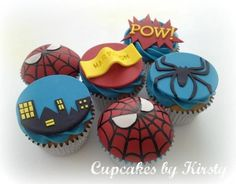 I definitely have to do this for my little Spiderman. - Visit to grab an amazing super hero shirt now on sale! Spider Cupcakes, Cupcakes For Men, Kid Cupcakes, Fondant Cupcake Toppers, Cupcake Cakes, Spiderman Cupcake Toppers, Spiderman Birthday Cake, Spiderman Theme, Superhero Cake