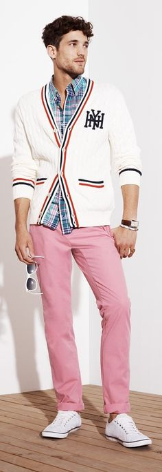 Try pairing a white knit cardigan with pink chinos for a refined yet off-duty ensemble. Want to go easy on the shoe front? Make white low top sneakers your footwear choice for the day. Shop this look on Lookastic: https://lookastic.com/men/looks/cardigan-long-sleeve-shirt-chinos-low-top-sneakers-sunglasses-watch/11642 — Aquamarine Plaid Long Sleeve Shirt — Dark Brown Leather Watch — White Knit Cardigan — White Sunglasses — Pink Chinos — White Low Top Sneakers