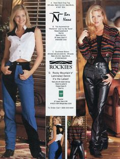 """Rockies introduced """"Laminated Denim"""" in our Summer 1997 catalog. It looked a bit like leather and offered a bit of stretch in a traditional 5-pocket design. #denim #denimFashion #vintage #TBTdrysdales #throwback #TBT"""