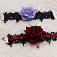 Handmade Black Lace Gothic Lolita Bracelet (2 Colors) – GBP £ 6.95