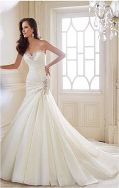white ivory bridal mermaid organza wedding dress custom size 8 10 12 14 16 18+ #Handmade #Formal