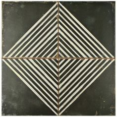 The SomerTile 17.75x17.75-inch Royals Rombos Ceramic Floor and Wall Tile has a matte finish and a black and white weathered, uneven diamond design. Make any room look trendier with this semi-vitreous and easy to clean product.