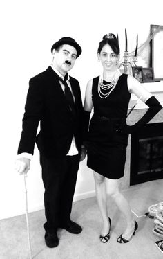 Dead Hollywood party. Audrey Hepburn and Charlie Chaplin. Easy costumes to do last minute, goodwill and party store with ore owned accessories