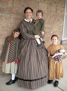Very good impression of Civil War Era Clothing worn by a woman and her children