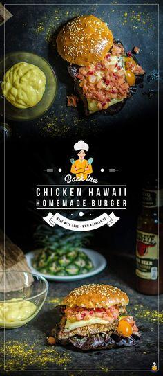 Ein saftiger Chicken Burger Hawaii: Mit selbstgemachten Brioche Buns, saftigem Hähnchen und einem pikanten Ananas Chutney. So muss ein Chicken Burger schmecken! | BackIna.de