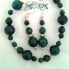 $25 Malachite with azurite beaded bracelet with Sterling lobster claw clasp, and earring set