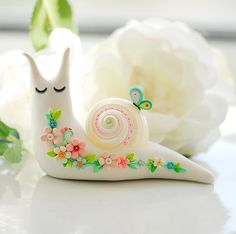 fimo snail super cute ,kawaii and kitsch great gift for mothers day for garden loving mum