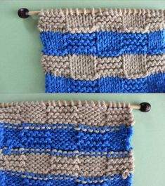 Right and Wrong Sides of Checkerboard Knit Stitch Pattern with Stripes. How to Remove Purl Dash Lines - Knit Stripes with Studio Knit