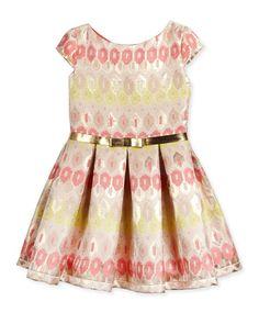 Z1HS9 Zoe Cap-Sleeve Ikat Couture Dress, Coral/Multicolor, Size 7-16