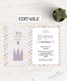 Editable LDS Baptism Invitation Girl Editable file, Instant Download, Girl Invitation Purple, LDS Baptism Invite by Recathi on Etsy
