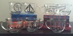 Hand-painted Harry Potter Themed Glass Mugs