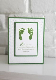 There are certain losses where there is nothing much to say beyond letting the person know you are thinking of them. This hand made baby sympathy card will help you reach out to someone and offer condolences in a gentle way. The infant feet image and sentiment are hand stamped in a pretty shade of green ink, making the card work for the loss of either a boy or girl. The inside of the card has a small sentiment also stamped in the same shade of green ink. The image layer is layered with…