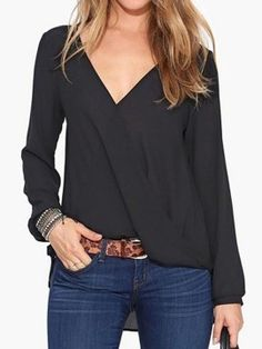 Shop Blusa De Gasa V-Cuello Negro from choies.com .Free shipping Worldwide.$10.99