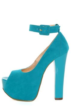 Luichiny Turquoise Suede Platform High Heel