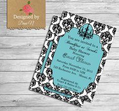 Tiffany Baby shower invitation, tiffany baby shower invite, invitation, printable, tiffany blue, Breakfast at tiffany's, baby & co.