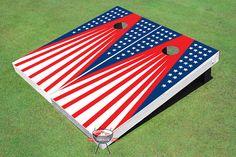 Patriotic Flag Theme Cornhole Boards by AllAmericanTailgate Custom Cornhole Boards, Cornhole Set, Cornhole Rules, Cornhole Designs, Picnic Blanket, Outdoor Blanket, Blue Artwork, Corn Hole Game, Art Projects