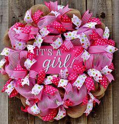 baby girl wreath, pink wreath,baby girl pink burlap wreath, baby girl decoration,polka dot baby,baby gift girls nursery, it's a Girl wreaths