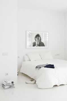 All white bedroom. Via Indoors / Outdoors